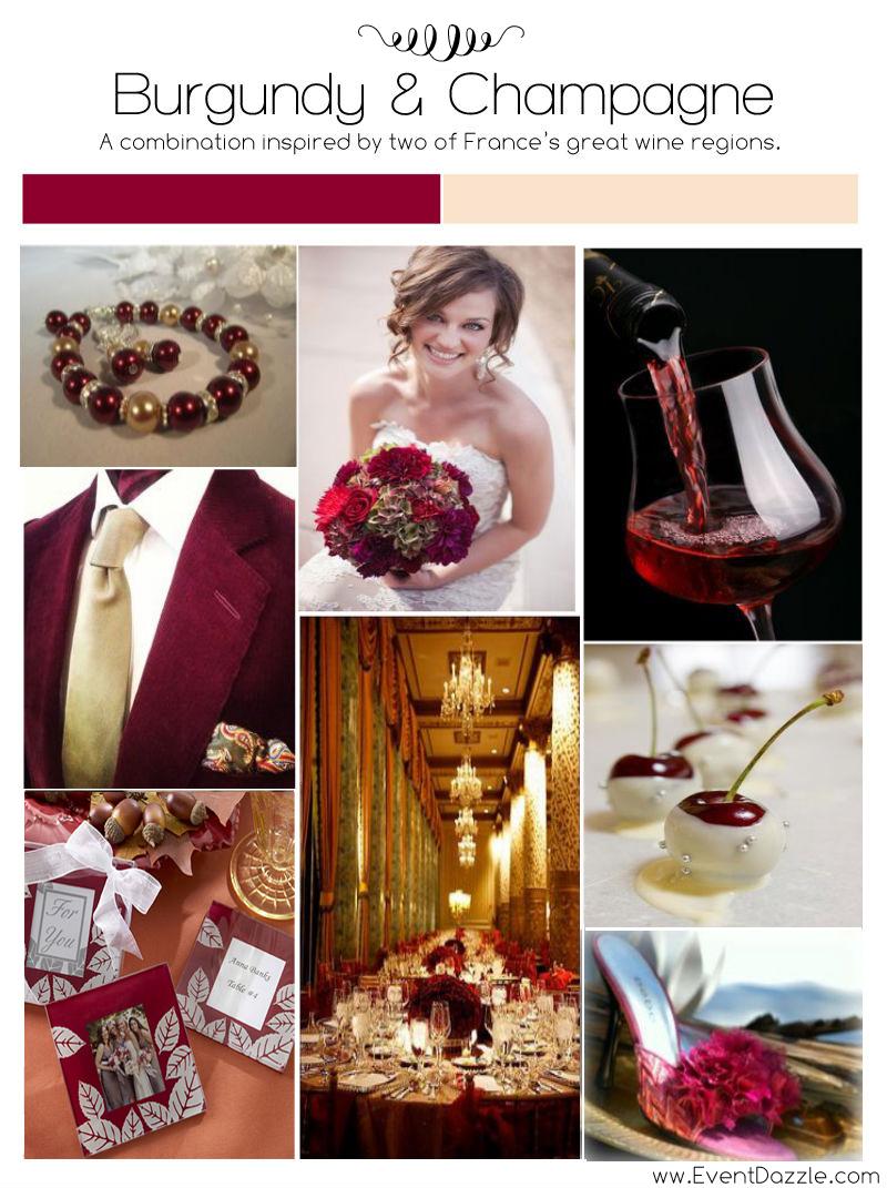 Burgundy Amp Champagne Wedding Inspiration EventDazzle