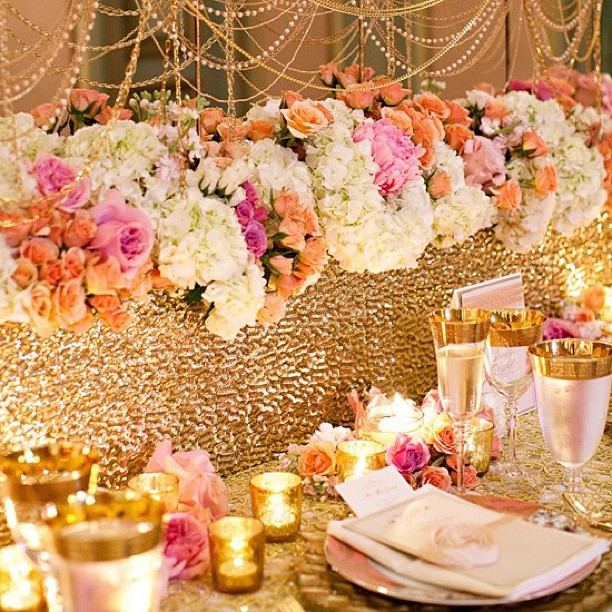 Gold Wedding Decorations: Coral Wedding Color Combination Ideas